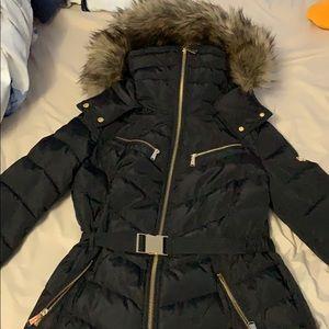 Michael Khors Faux-Fur-Trim Hooded Puffer Coat